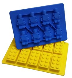 Wholesale Party Robots - LEGO Family Party Building Blocks and Robots Ice Bricks Chocolate Ice Cake Jelly Mold Silicone Ice Cube Tray Brick 2016 New Hot Sale!