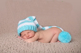 Wholesale Long Tail Elf Hat - CROCHET NEWBORN white & Light blue LONG TAIL ELF PIXIE hat SPECIAL SPIRAL DESIGN ,100% cotton baby Stocking Hat PHOTO PROP