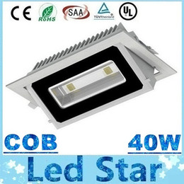 Wholesale Aluminum Wall Light - Free Shipping 2X20W COB 40W Led Downlight Recessed Led Down Lights Wall Lamp 4000 Lumens Led Floodlights Warm Cold White AC 85-265V