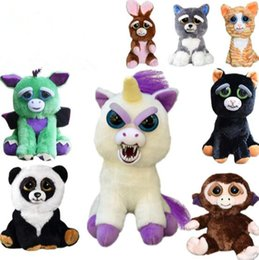 Wholesale Wholesale Stuffed Animals For Babies - 23cm One Second Change Face Feisty Pets Animal Plush Toys Cartoon Monkey Unicorn Stuffed Toy for Baby Christmas Gift CCA7957 20pcs