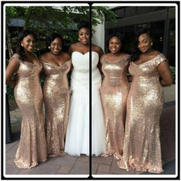 Wholesale Sweetheart Style Evening Dress - 2016 New Coming Bling Bling Rose Gold Sequins Bridesmaids Dresses Mixed Style Mermaid Maid Of Honor Gowns Off Shoulder Evening Prom Dresses