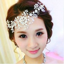 Wholesale Bridal Forehead - Fashion Silver Crystal Wedding Bridal Forehead Flower Headpieces Princess Beaded Wedding Tiaras Hair Jewelry Headband Favor