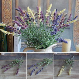 Flores verdes de lavanda online-Mini Fresh Green Fake Plants Bouquet Artificial Lavender Leaves Grass Wedding Floral Decor Flowers Arrangement