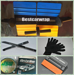 Wholesale Pcs Material - 1xKnife   2x cutter and 4pcs Magnet   4 pcs 3M Squeegee & 1x Knifeless tape   1 pair gloves # For Car Wrap Window tint Tools kits