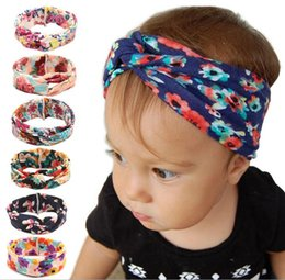 Wholesale Knitting Elastic Band - New Knitted cotton children headbands knoted cotton headband for baby girls Rabbit ears elastic hair bands 6 colors hair ccessories DIY