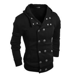Двубортные рубашки онлайн-Новые горячие мужская мода двубортный капюшоном пот рубашки кардиган мужчины толстовки кофты размер M-XXL бесплатная доставка