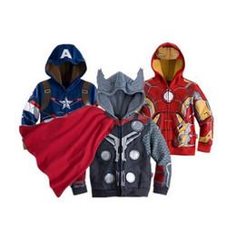 Capitan america chaqueta con capucha online-Niños sudaderas con capucha CHICA BABY Niños Capitán América Hoodies chaqueta Avengers Hulk hombre thor iron Superhero cosplay Niños chaqueta con capucha C001