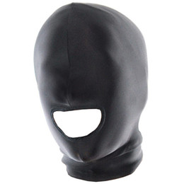 Wholesale Muzzle Head Harness - Fetish Fantasy Lightweight Spandex Open Mouth Hood Head Harness Master Slave Role Play Muzzles Bondage SM Set