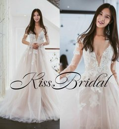 Wholesale Wedding Dress Back Hole - Light Blush 2018 Lace Wedding Dresses Long Sleeves V Neck Key Hole Back Sweep Train Tulle Formal Real Photos Bridal Gowns Wedding Reception