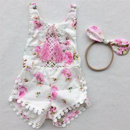 Wholesale Onesie Orange - Multicolor baby girls cute tassels romer sets floral printing romper+headband infants sweet flower summer onesie sets 3sizes