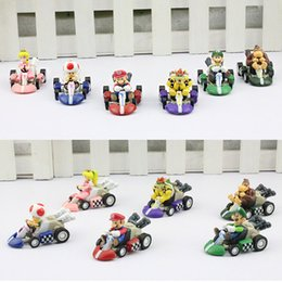 Wholesale pull back toy cars - Super Mario Bros Kart PULL BACK Car Figures Children's Gift Sets Plastic Toys 6pcs set Free shipping