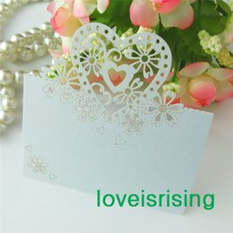 Wholesale Graduation Place Cards - New Arrivals--50pcs White Color Laser Cut Place Cards Wedding Name Cards For Wedding Party Table Decoration--Factory Directly Sell
