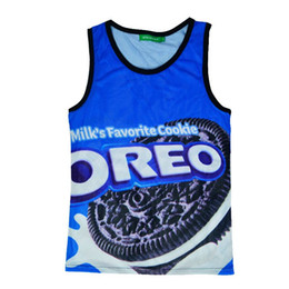 Wholesale Xxl Mens Tank Top - w1208 2015 harajuku hip hop oreo cookies dessert print 3d tank top mens vest 3d brand tank tops men t shirt size M-XXL free ship