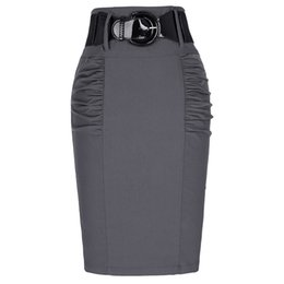 ladies high waist pencil skirts Promo Codes - Wholesale- 2017 New Sexy Pencil Skirts Womens Business Work Office Skirt With Belt High Waist Elastic Casual Bodycon Slim Fit Ladies Skirts