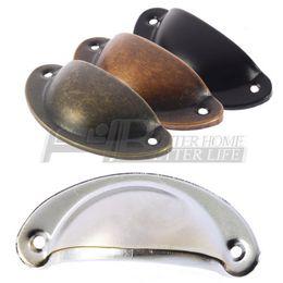 Wholesale Black Door Knobs - Shell-shaped black Vintage Door Cabinet Drawer Box Bin Furniture Handles Cup Pull Knob