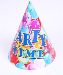 Wholesale Cartoon Birthday Caps - Cone-shape Baby Birthday Caps Cartoon Color Paper Birthday Party Kids Hat Children Gift Toys for Sale