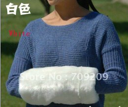Wholesale hand warmer pillow - Wholesale-white Faux Fur Arm Warmers hand warmer muff hands warm cage pillow Christmas gifts 36*18cm