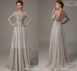 Wholesale Mother Top Dress - Hot Mother Of The Bride Dress Long Sleeve A-Line Appliques Lace Beaded On Top Chiffon Floor Length Elegant Custom Made Mother Dress