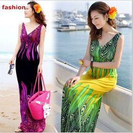 Wholesale Multi Color Chiffon Maxi Dress - New Fashion Women Summer Dress Chiffon Retro Long Maxi Dress Bohemia Shivering Beach Long Dress20 color Free Shipping