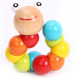Wholesale Montessori Wooden - 1pc Montessori Learning Education Multi-colour Magical Twisting Insect Child baby kid Toy Wooden Puzzle Baby train Fingers Flexibility