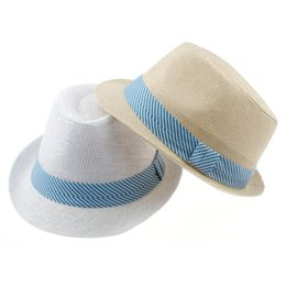 Wholesale Cowboy Hats Ribbon - Striped ribbon decoration 2 colors Kids Straw Hat Baby Summer Straw Cowboy Hat Boys Girls Straw Fedoras Baby Strawhat 10pcs