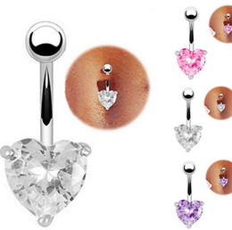 Wholesale Navel Belly Rings Zircon - 18K Gold Plated Hearts Cubic Zircon CZ Sexy Belly Button Piercings Navel Rings Body Jewelry Navel&Bell Button Rings Free Shipping