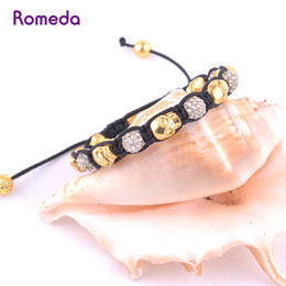 Wholesale Cool Skull Beads - Wholesale-gold cool mens crossbones skull beads shamballa bracelets wholesale black rope chain jewelry supplies china bracelets&bangles