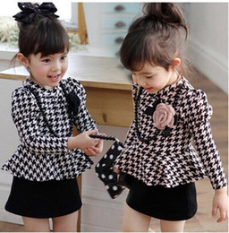 Wholesale Dress Frills - 2015 New girls Classic plaid Frill dress children's long sleeve gird dress baby girl lattice dress princess dresses kids clothing C001