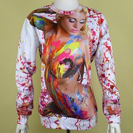 Wholesale Ladies Sexy Costume Pattern - w1213 Sexy lady printed colorful pattern sweatshirt women man's novelty eye-catching hoody rave gothic punk costume tunic