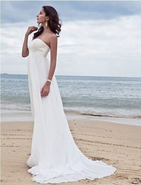 Wholesale Wedding Gowns Pregnant Bride - 2016 NEW HOT Romantic Wedding Dresses For Pregnant Women Beach Bridal Gowns Backless Chiffon Bride Dress