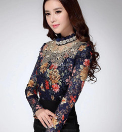 Wholesale Black Blouses For Women - 2016 new women casual fashion floral girl lace blouse diamond beaded lace shirt clothes for woman