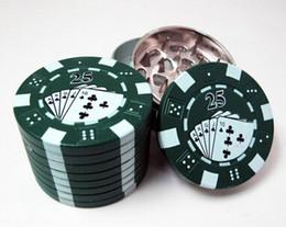 """Wholesale Chip Grinder - popular Zinc alloy Poker Chip Herb Grinder 1.75"""" 3pc Grinder 3 Colors 3-layer Poker Herb Smoke Cigarette Grinder"""