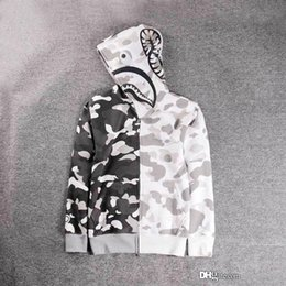 Wholesale Cashmere Women Hoodie Cardigan - New Luminous Shark Printing Plus Cashmere Sweater Men Women White Camo Hooded Jacket Wom Fashion Cardigan Leisure Fleece Jecket Hoodies Tops