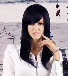 Wholesale Dark Purple Wigs - Popular Comfortable Long Synthetic Wig Silky Straight Dark Blue Purple Synthetic OL Inclined Bang Hair Wigs Lolita Cosplay Club Party Wig