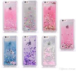 Wholesale Tpu Back Case Bling - Star liquid glitter phone case for iphone X 7 8Plus 6 plus clear colouful dynamic bling soft tpu edge PC back cellphone case