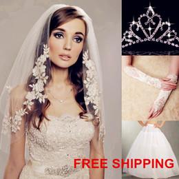 Wholesale Wholesale Net Evening Dresses - Hot Sale! Wedding Accessory sets 4pcs-Tiara Crown Veil Gloves and Petticoats White Ivory for Wedding Dresses Evening Party Dresses Dhyz 03