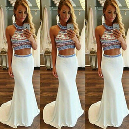Wholesale Two Piece Halter Wedding Gown - New Unique Wedding Gowns Mermaid Two Pieces Prom Dresses High Neck Illusion Halter Colorful Crystals Beading Evening Formal Wear Sweep Train