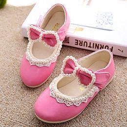 Wholesale Kids Purple Dress Shoes - Spring Autumn Baby Girls Princess Shoes Elegant Children's Solid Lace Pearl Bow Pageant Dress Shoes Kids Casual Shoes