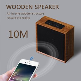 Wholesale Natural Wooden Buttons - Wooden Speaker Natural sound Portable Speakers MP3 music playing Bluetooth Speaker FM radio AUX audio input TF card