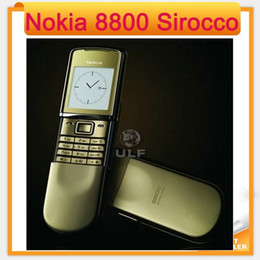 Wholesale russian keyboard mobile phone - 2016 Fast Freeshipping to Russia Unlocked Original 8800 Sirocco Gold color 128MB Nokia 8800s refurbished Mobile Phone Russian keyboard