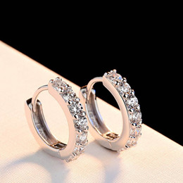 Wholesale Earrings Stud Finding - Top Quality Korean 925 Sterling Silver Hoop Earring For Women Wedding Jewelry Accessories Cubic Zirconia Crystal Earring Finding Wholesale