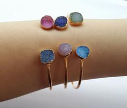 Bracelet en géode en Ligne-3 PCS / lot Nature Druzy irrégulière Geode Quartz, Crystal Drusy Gem Améthyste Agate pierre DIY Bracelets bracelet fabrication de bijoux SB50-52