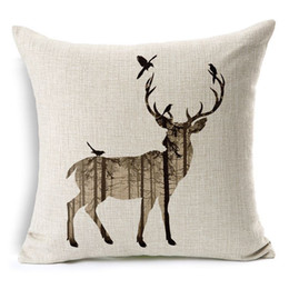 "Wholesale Head Throw - Simple Cotton Linen Square Throw Flax Pillow Case Decorative pillowcase Deer Antlers Elephant Head Rhinoceros 18 ""X18 """
