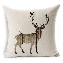 "Wholesale Flax Weaving - Simple Cotton Linen Square Throw Flax Pillow Case Decorative pillowcase Deer Antlers Elephant Head Rhinoceros 18 ""X18 """