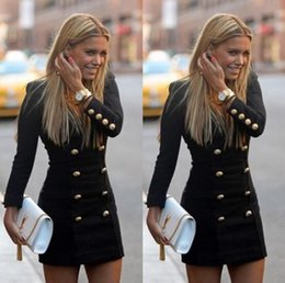 Wholesale Spandex Bodycon Dress Wholesale - Dress Europe US hot style pencil skirt personality fashion long-sleeved dress buttons putting woman double-breasted coat v-neck DHL 100pcs