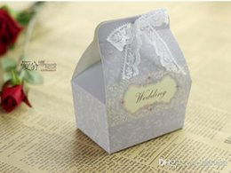 Wholesale Romance Box - 100Pcs Lot Spring Style Romance Lace With Dusk Color Favor Holders Candy Boxes Wedding Gift Box