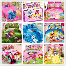 Wholesale Minnie Duvet - Wholesale-Christmas princess Mickey Minnie mouse bedding set for girl twin bed clothes include duvet comforter cover flat sheet pillowcase