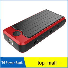 Wholesale Wholesale Car Battery Booster - High Quality 12V Portable Mini Jump Starter 12000mAh Car Jumper Booster Power Battery Charger Mobile Phone Laptop Power Bank T6 010125