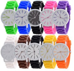 Wholesale Geneva Student Watches - Candy colors Geneva watch Silicone Hollow watches fashion students wristwatch quartz Watches for Women mens Christmas gift