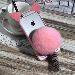 Wholesale Cat Ear Tail - For Samsung A3 A5 A7 J3 J5 J7 A8 A9 Cute Cartoon Cat ear Tail Phone case Plush Fur Ball Soft Back Cover